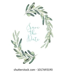 Watercolor olive floral illustration - olive branch frame / wreath for wedding stationary, greetings, wallpapers, fashion, backgrounds, textures, DIY, wrapping, postcards, logo, branding, etc.