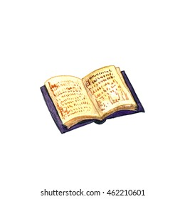 watercolor open old book isolated at white background, hand drawn illustration