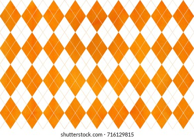 Watercolor orange diamond pattern. Geometrical traditional ornament for fashion textile, cloth, backgrounds.