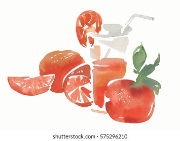 Watercolor orange juice isolated on white background. Tropical fruits. Healthy vitamin diet. Steal life of a glass of freshness citrus drink and oranges.