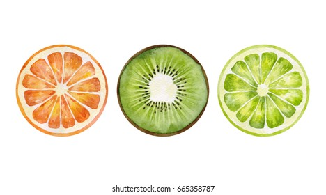 Watercolor orange, kiwi and lime set