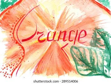 Watercolor orange leaf background