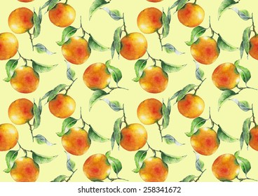 Watercolor oranges pattern on ivory background