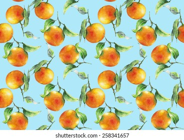 Watercolor oranges pattern on light blue background