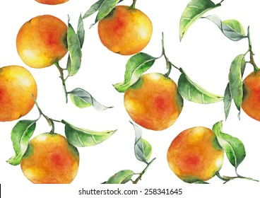 Watercolor oranges pattern on white background