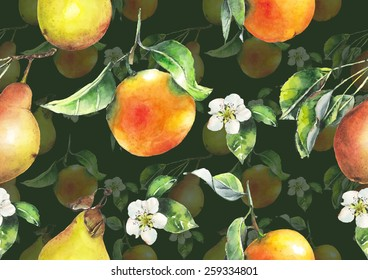 Watercolor oranges and pears pattern on dark green background