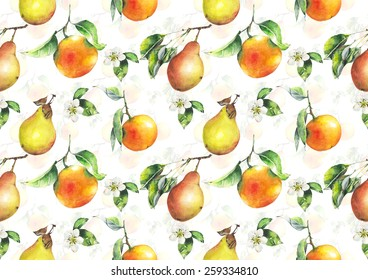 Watercolor oranges and pears pattern on white  background
