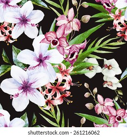 watercolor, orchid, flower, hibiscus, pattern, wallpaper, hibiscus