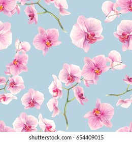 Watercolor orchid flowers seamless pattern. Hand drawn wallpaper design. Repeating texture with floral branches and pink flowers on pastel background.