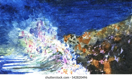 Watercolor original painting with splashing wave. Hand painted illustration with water, colorful foam, pebbles on the beach, dark blue sky. Textured paper.
