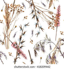 Watercolor ornamental dry grass. Seamless pattern on white background. Winter plants for garden and design