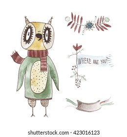 Watercolor Owl Story