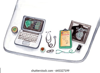 watercolor paint computer laptop on the doctor desk with medical equipment.