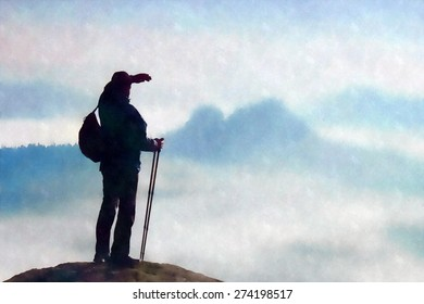 Watercolor paint. Silhouette of tourist with poles in hand. Sunny spring daybreak in rocky mountains. Hiker with sporty backpack stand on rocky view point above misty valley.