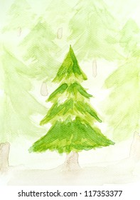 watercolor painted christmas tree