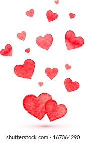 Watercolor painted flying lovely red hearts
