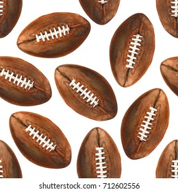 Watercolor painted illustration of brown ink american football ball pattern set isolated on white background