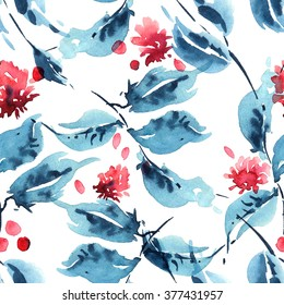 Watercolor painted leaves and flowers. Seamless pattern fill.