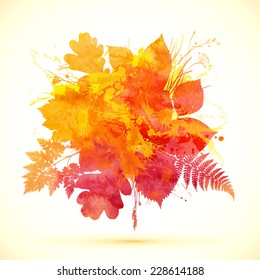 Watercolor painted orange autumn leaves banner