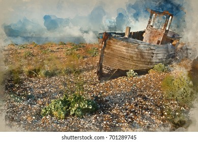 Watercolor painting of Abandoned fishing boat on shingle beach landscape at sunset