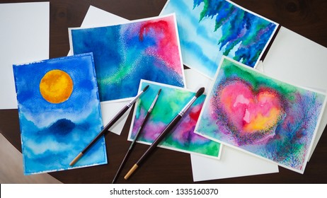 watercolor painting art abstract top view illustration studio
