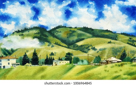Watercolor painting of a beautiful clouds surrounding the green mountain hills with small village at the base. Hand drawn illustration.