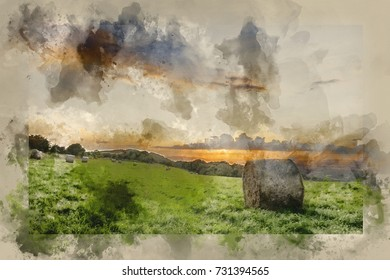 Watercolor painting of Beautiful Summer sunset over countryside landscape of field with hay bales