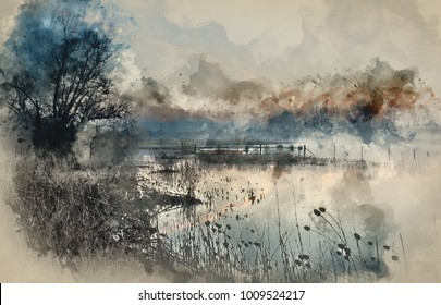 Watercolor painting of Beautiful tranquil landscape of lake in mist