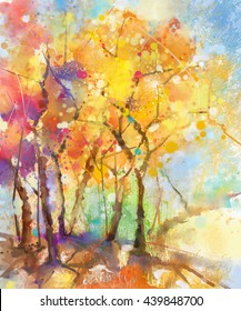 Watercolor painting colorful landscape. Semi- abstract watercolor landscape image of tree in yellow, orange and red with blue sky background. Spring, summer season nature watercolor background