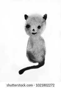 Watercolor painting of cute cat. Hand drawn ink illustration.