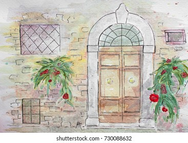 Watercolor Painting - Door, Wall and Some Flowers