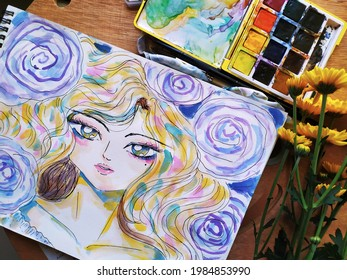 watercolor painting drawing pastelcolor