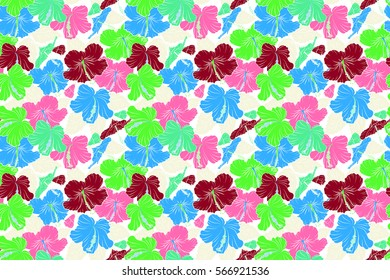 Watercolor painting effect, raster illustration of a hibiscus flower, blossom with multicolored leaves isolated hand drawn on white background. Hibiscus flowers in red, pink and green colors.