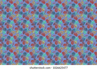 Watercolor painting effect of red, orange and blue hibiscus flowers, seamless pattern raster background.