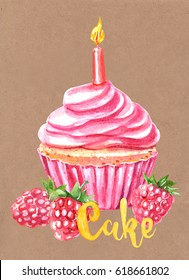 Watercolor painting, festive cupcake with candle,