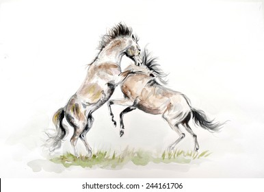 Watercolor painting of fighting horses