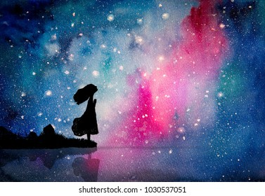 Watercolor painting of girl pray to star for peaceful and hope in the dark night