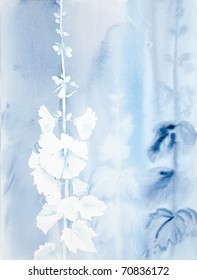 watercolor painting of hollyhocks in blue color scheme
