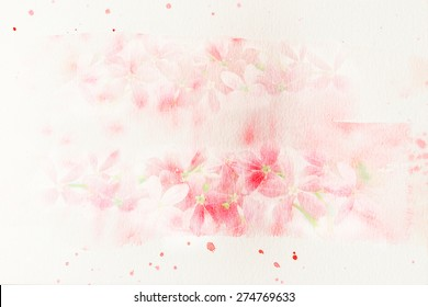 Watercolor painting illustration of blossom flower. Artistic floral abstract background.
