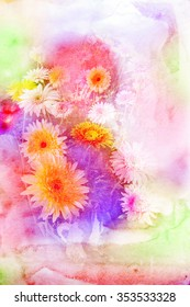 Watercolor painting illustration of blossom gerbera. Artistic floral abstract background.