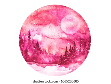 Watercolor painting, illustration, round logo. Forest, suburban landscape, silhouettes of fir trees, pines, trees and bushes, the night sky with stars. pink, burgundy color. Full moon, eclipse.