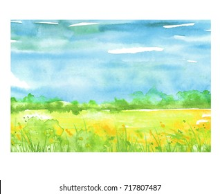 Watercolor painting, landscape of bright green grass, steppe, yellow flowers, plants, field, meadow against a bright blue sky. On a white background. Logo, card for your design