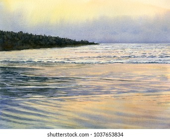 watercolor painting landscape misty reflections at low tide sandy beach