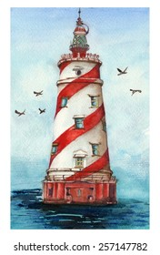 "Watercolor painting ""Lighthouse in the sea"""