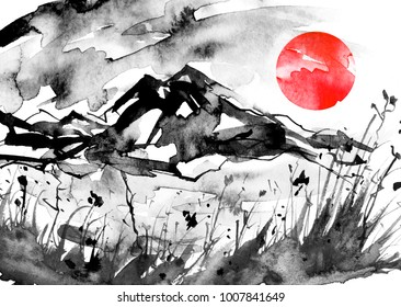 Watercolor painting. Nature, mountains, countryside, black silhouette of mountains, plants.  Red, pink sun, sunset, dawn. Postcard, picture, poster, logo. Graphic, vintage drawing