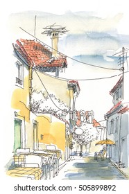 A Watercolor Painting of a Restaurant Terrace on a Cozy Street in a Suburb of a Mediterranean Town