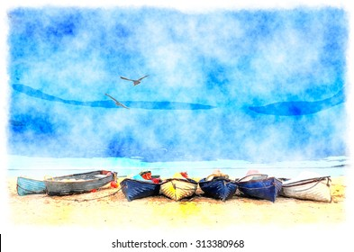 Watercolor painting of a row of fishing boats on the beach