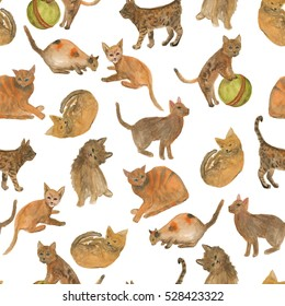 Watercolor painting  Seamless Pattern with funny cats