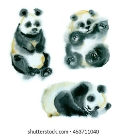 Watercolor painting. Sketch of three little pandas on a white background.