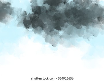 watercolor painting of sky with dark clouds. Graphic design template wallpaper